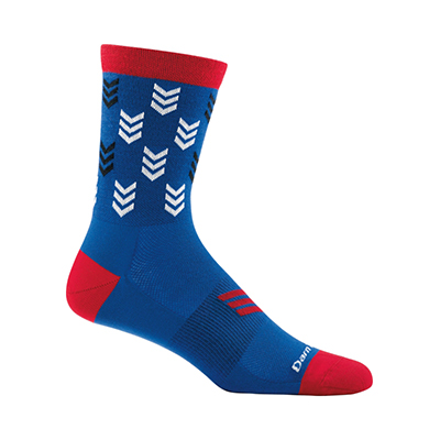 side view of red, white, and blue crew sock