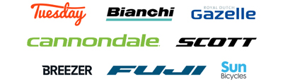 Brand logos for Bianchi, Breezer Bikes, Cannondale, Fuji, Gazelle, Scott, Sun Bicycles, and Tuesday Cycles